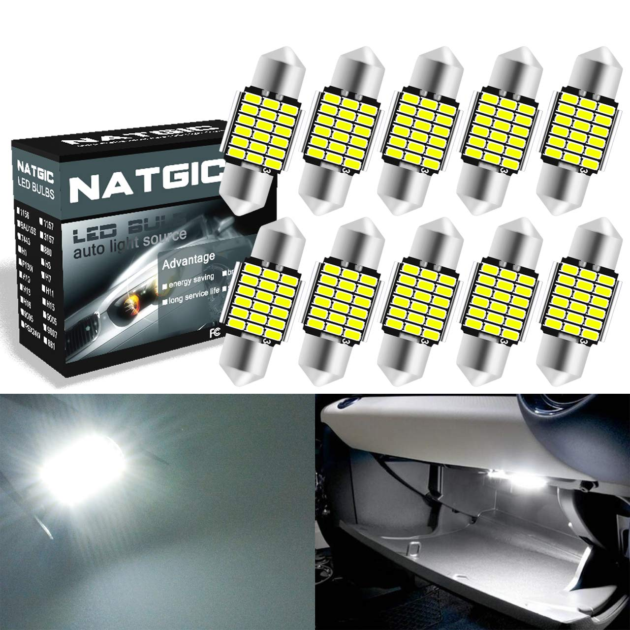 AJUMKER C5W Extremely Bright CanBus Error Free 1.53 39mm DE3423 DE3425 3423 3425 6411 6418 LED Festoon Car Interior Dome Map License Plate Lights 6500K Xenon White 12V Pack of 4
