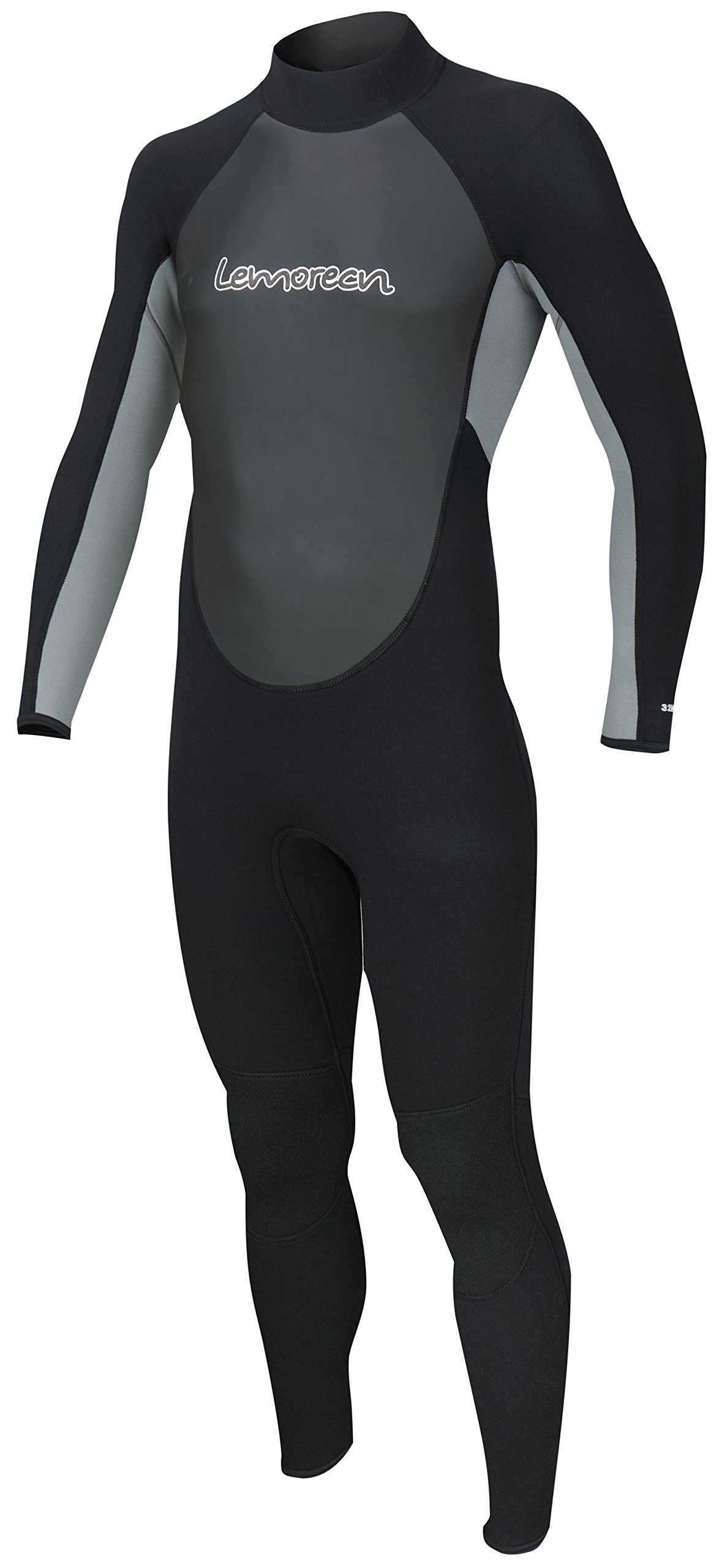 Lemorecn Wetsuits Mens Neoprene 3/2mm Full Suit(3032blackgrey-S)