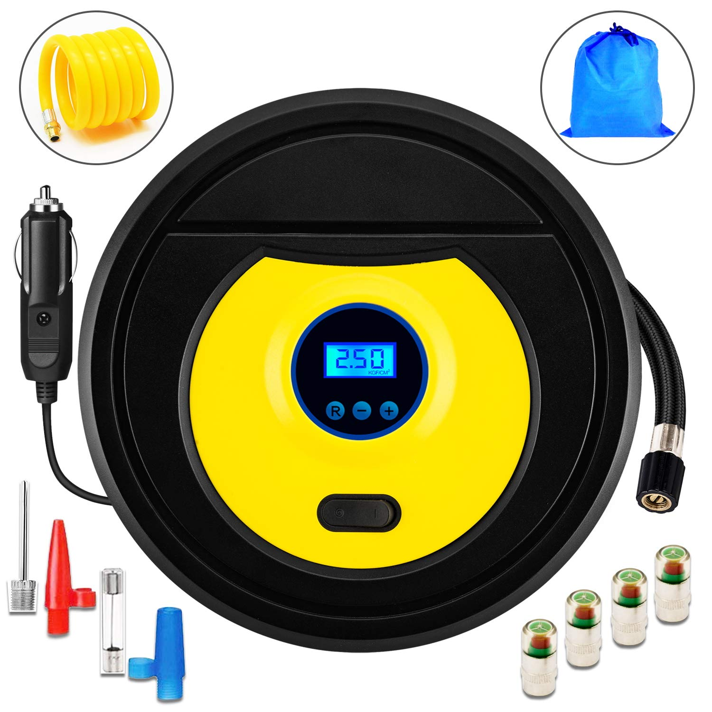 ZFITEI Bomba de compresor de Aire portátil, inflador de neumáticos Digital automático, Bomba de neumáticos de 12 V + Paquete de Regalo, 1 Tubo de extensión ...