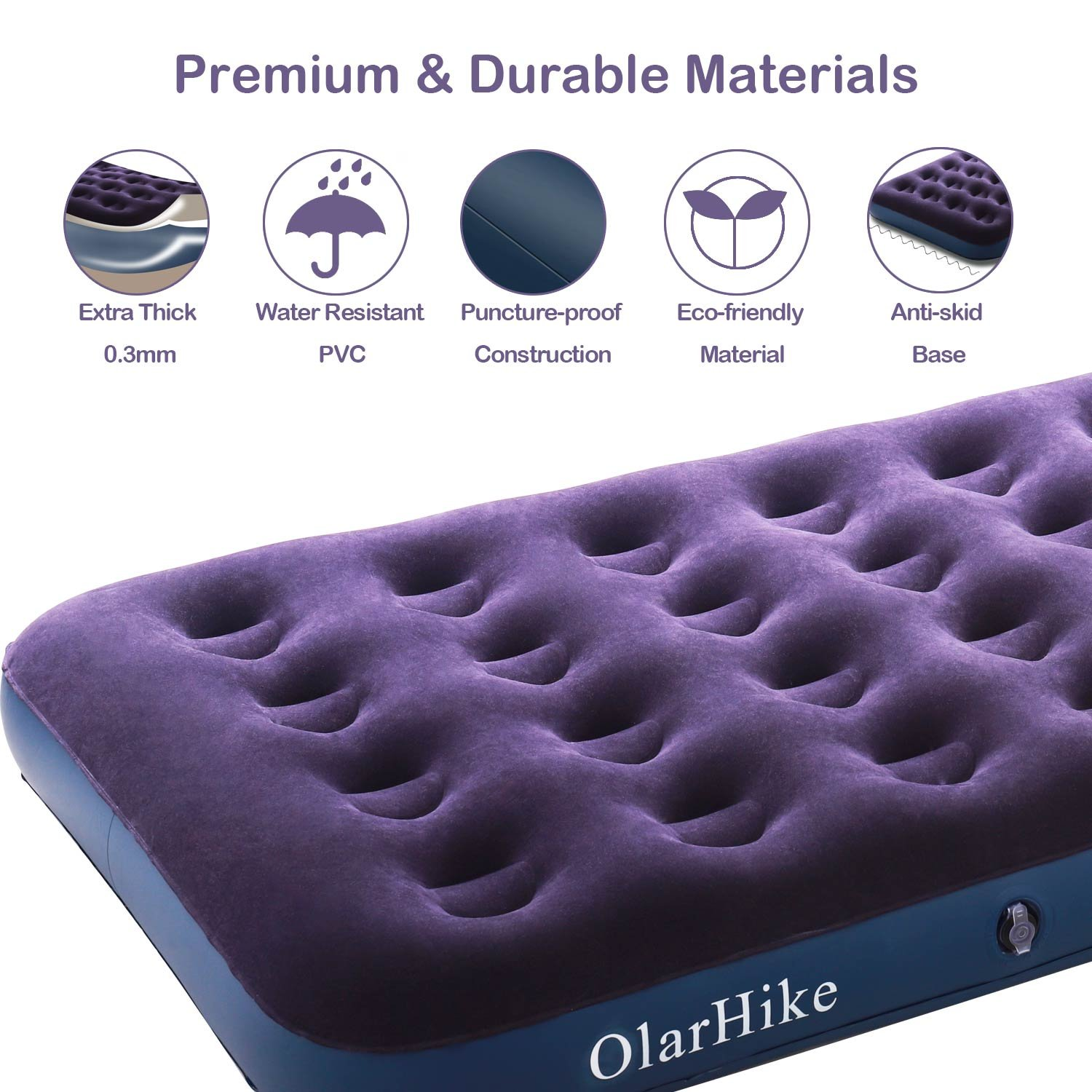 OlarHike Twin Air Mattress with Electric Pump, Portable Air Bed Blow Up Mattress for Camping Car, Repair Patches | Pillow Included by OlarHike (Image #7)