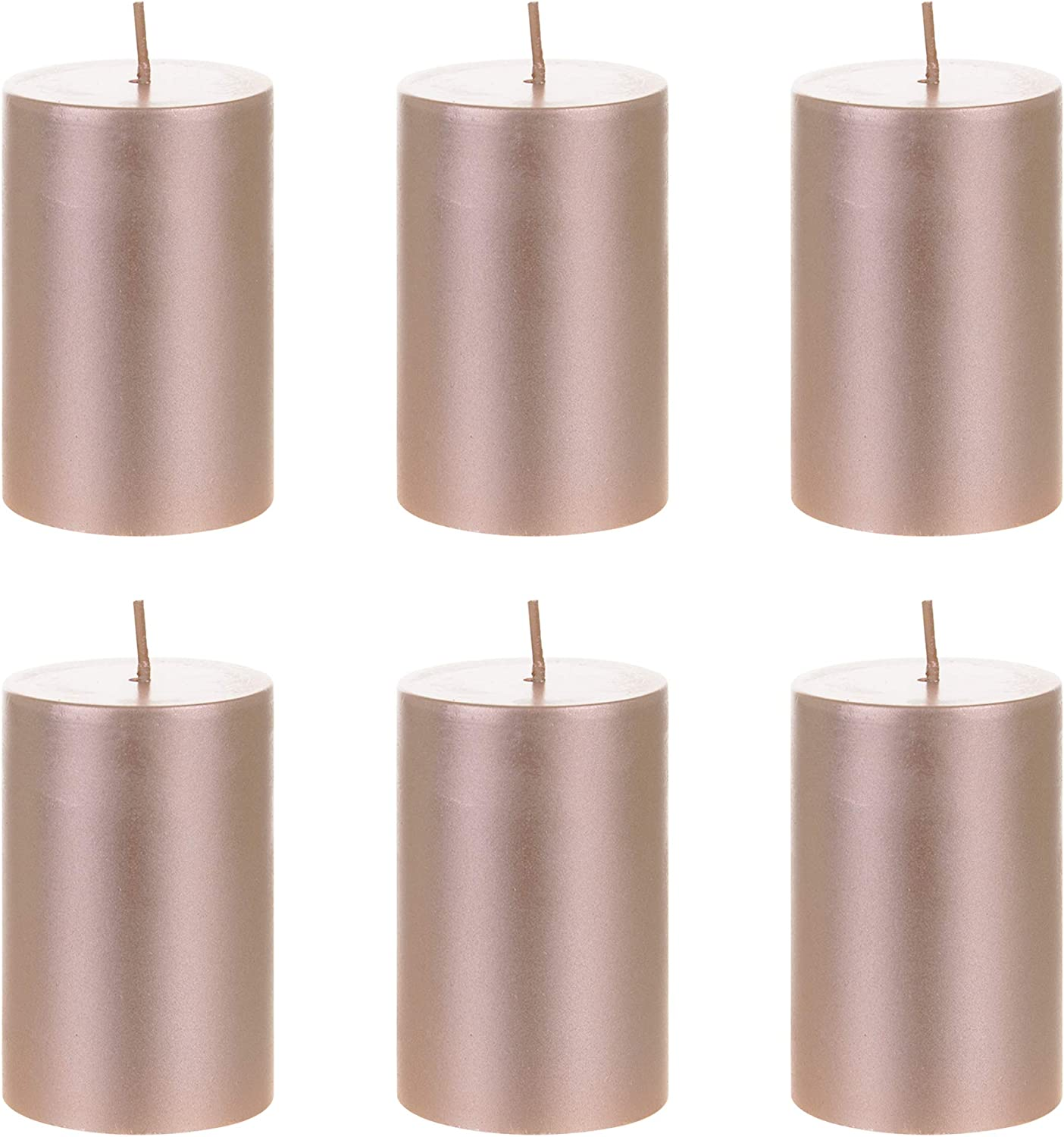 Mega Candles 6 pcs Unscented Rose Gold Round Pillar Candle, Hand Poured Premium Wax Candles 2 Inch x 3 Inch, Home Décor, Wedding Receptions, Baby Showers, Birthdays, Celebrations, Party Favors & More