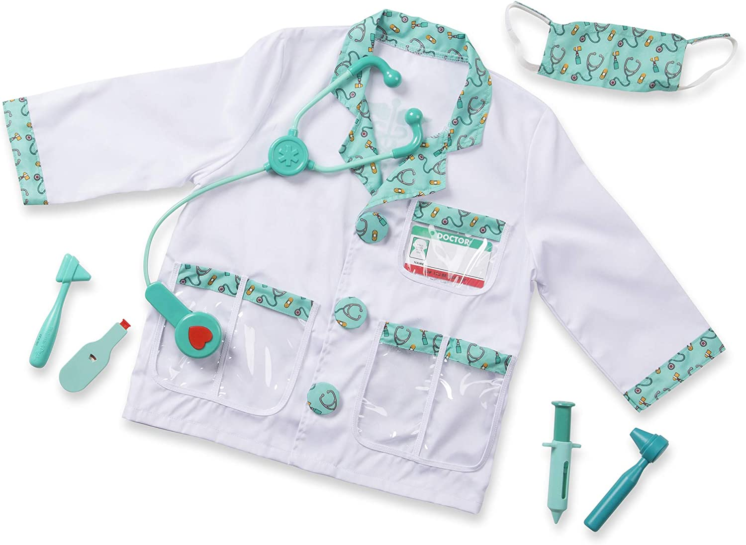Melissa Doug 96022 Doctor Role Play Costume Dress Up Set 7 Pcs Frustration Free Packaging Toddler Multicolor