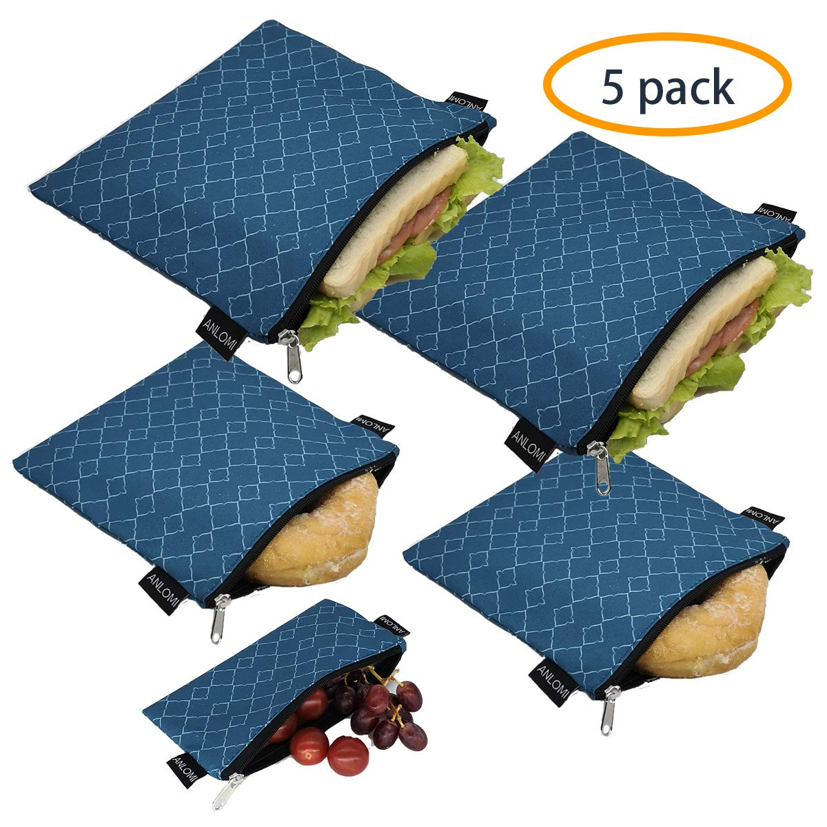Reusable Sandwich Bags Snack Bags - Set of 5 Pack, Dishwasher Safe Lunch Bags with Zipper, Eco Friendly Food Wraps, BPA-Free. (PeacockBlue) by ANLOMI