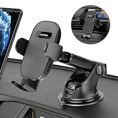 Mpow Car Phone Mount Holder, 3-in-1 Phone Holder for Car Dashboard Air Vent Windshield, Car Phone Holder with Twist-lock Clip and Strong Suction Cup, Compatible iPhone 11 Pro MAX XS XR X 8 7 6Plus Etc