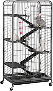 Yaheetech 37/52-inch Metal Ferret Chinchilla Cage Indoor Outdoor Small Animals Hutch with 2 Front Doors/3 Front Doors/Feeder/Wheels for Guinea Pig Squirrel Black