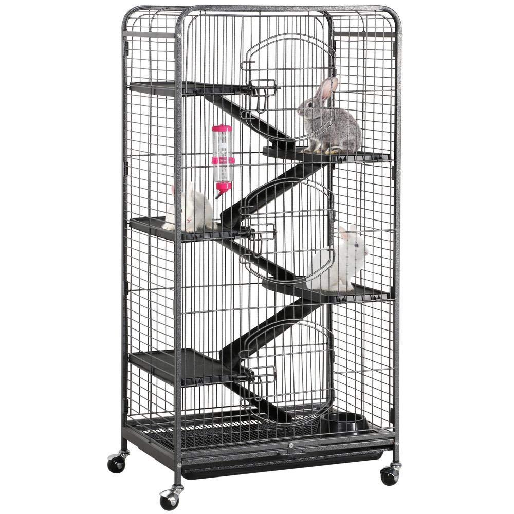 Yaheetech 52'' Large Ferret Rabbit Cage 6-Level Indoor Hutch Cage w/Wheel,Black