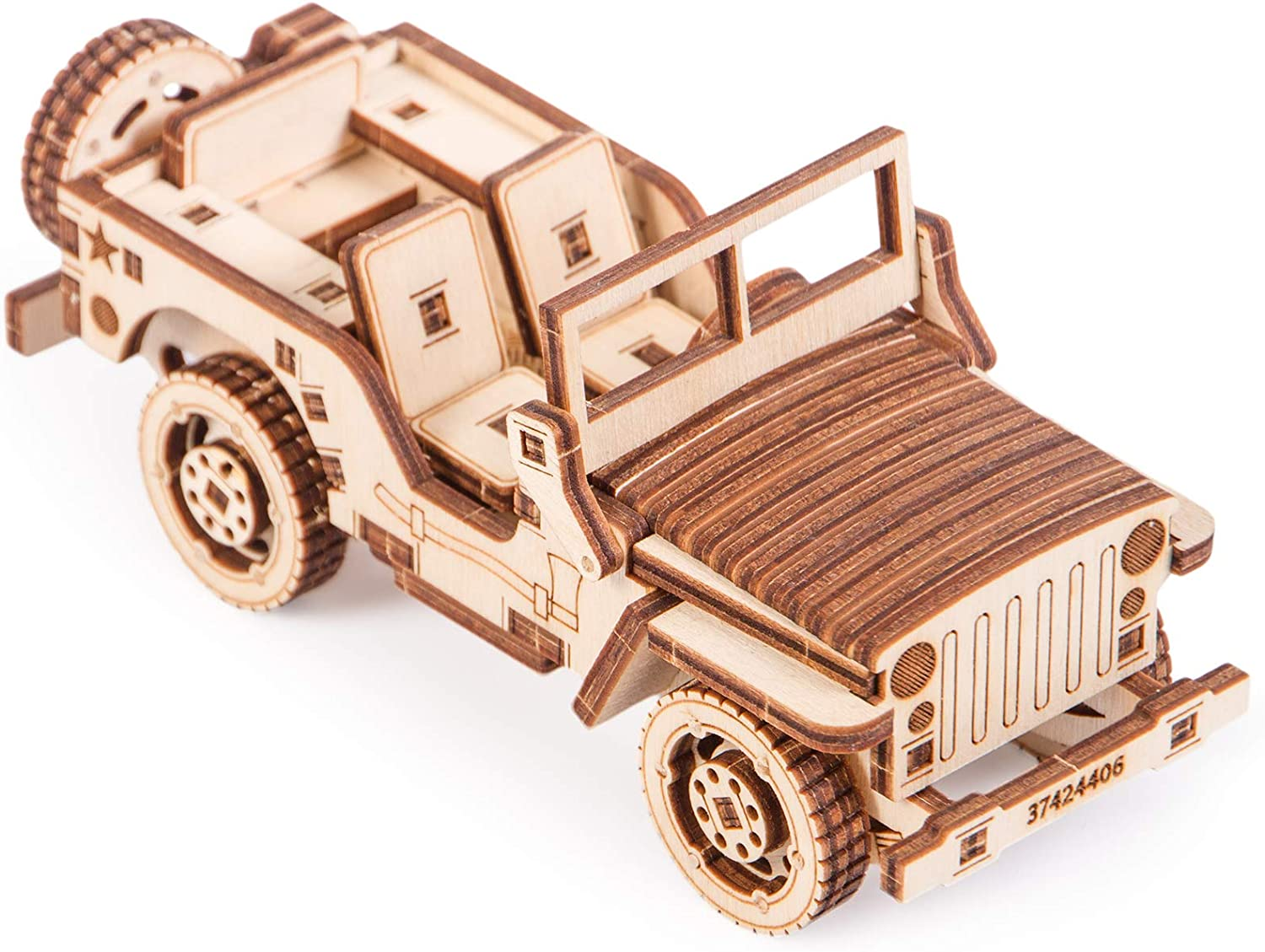 Kids Truck Jeep Model Car 3D Wooden Puzzle DIY Mechanical Toy Assembly Gears LC