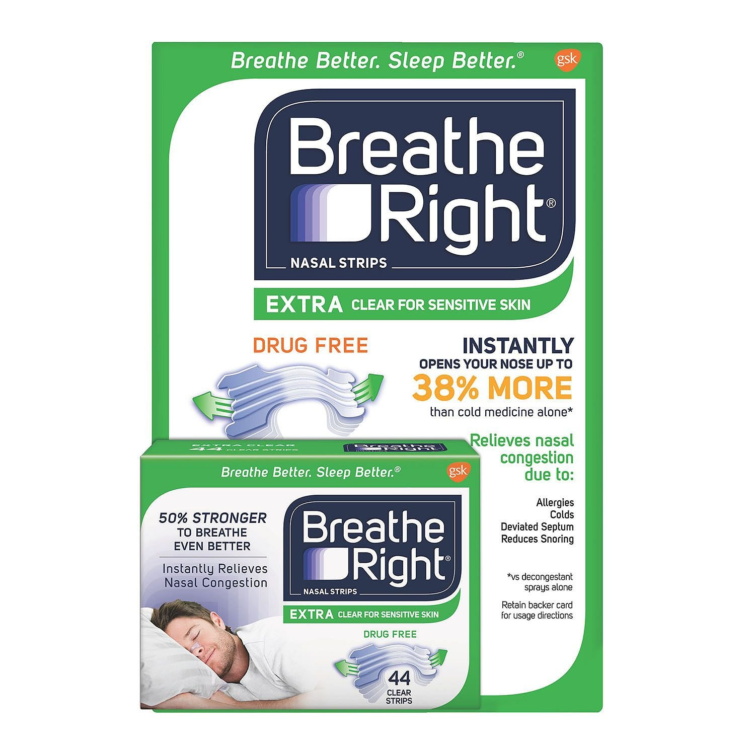 Breathe Right Extra Strength Nasal Strips, Clear (44 ct.) (pack of 6) by Breathe Right