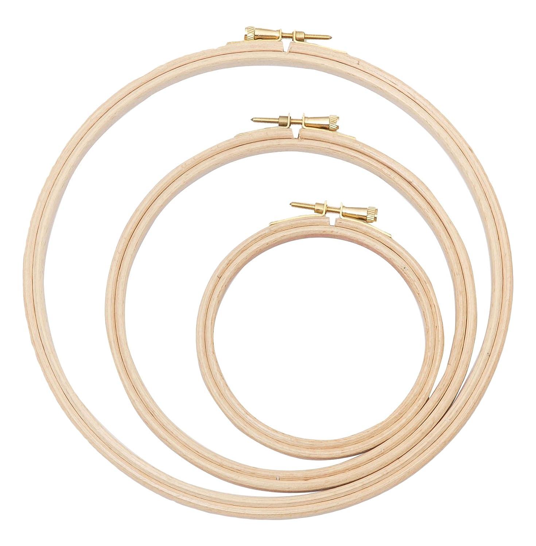 Elbesee ricamo anello, legno, marrone, 15/20/25cm, confezione da 3 H6810