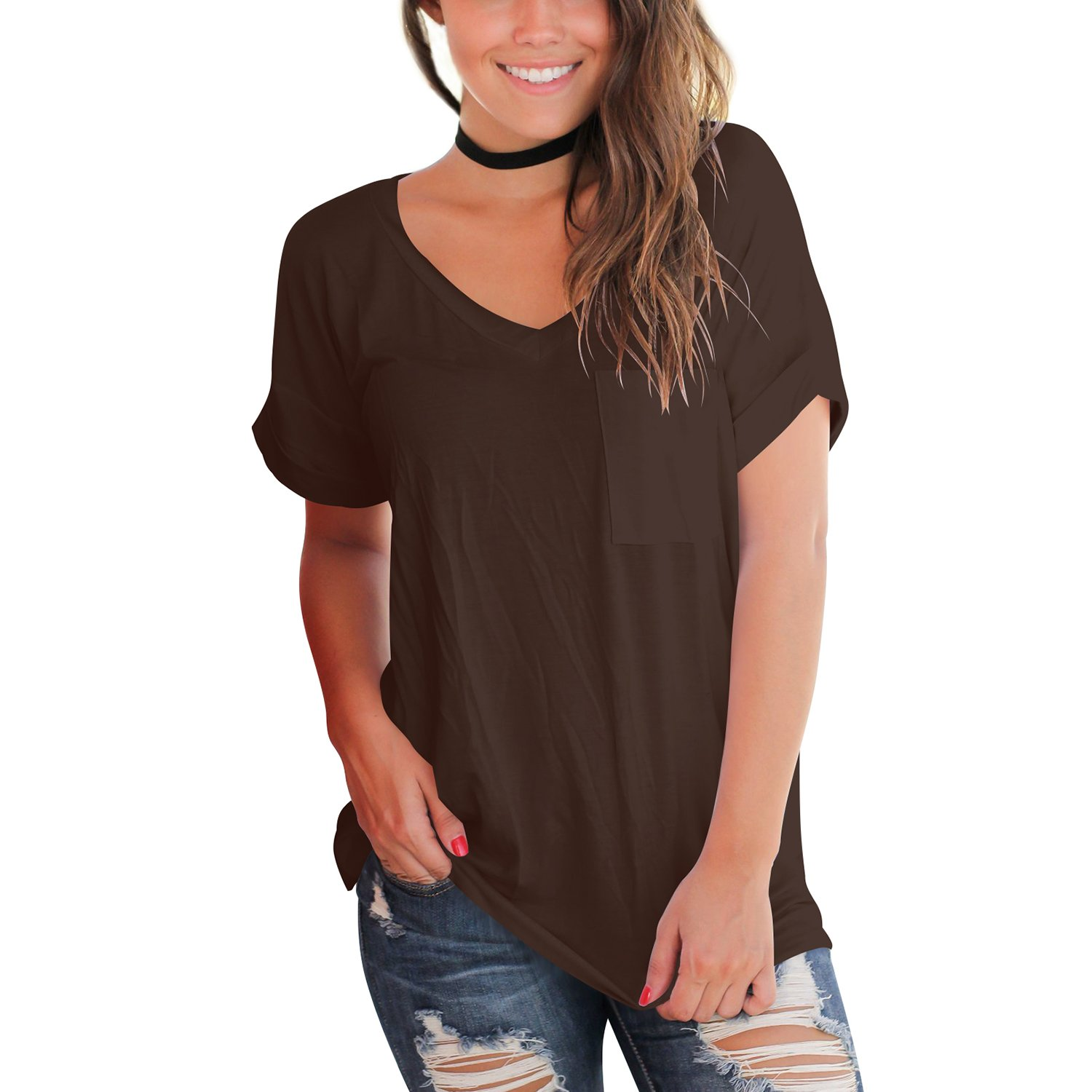 YS.DAMAI Women's Summer Basic Tee Tops Casual Loose Short Sleeve T Shirt with Front Pocket(Coffee, XL)