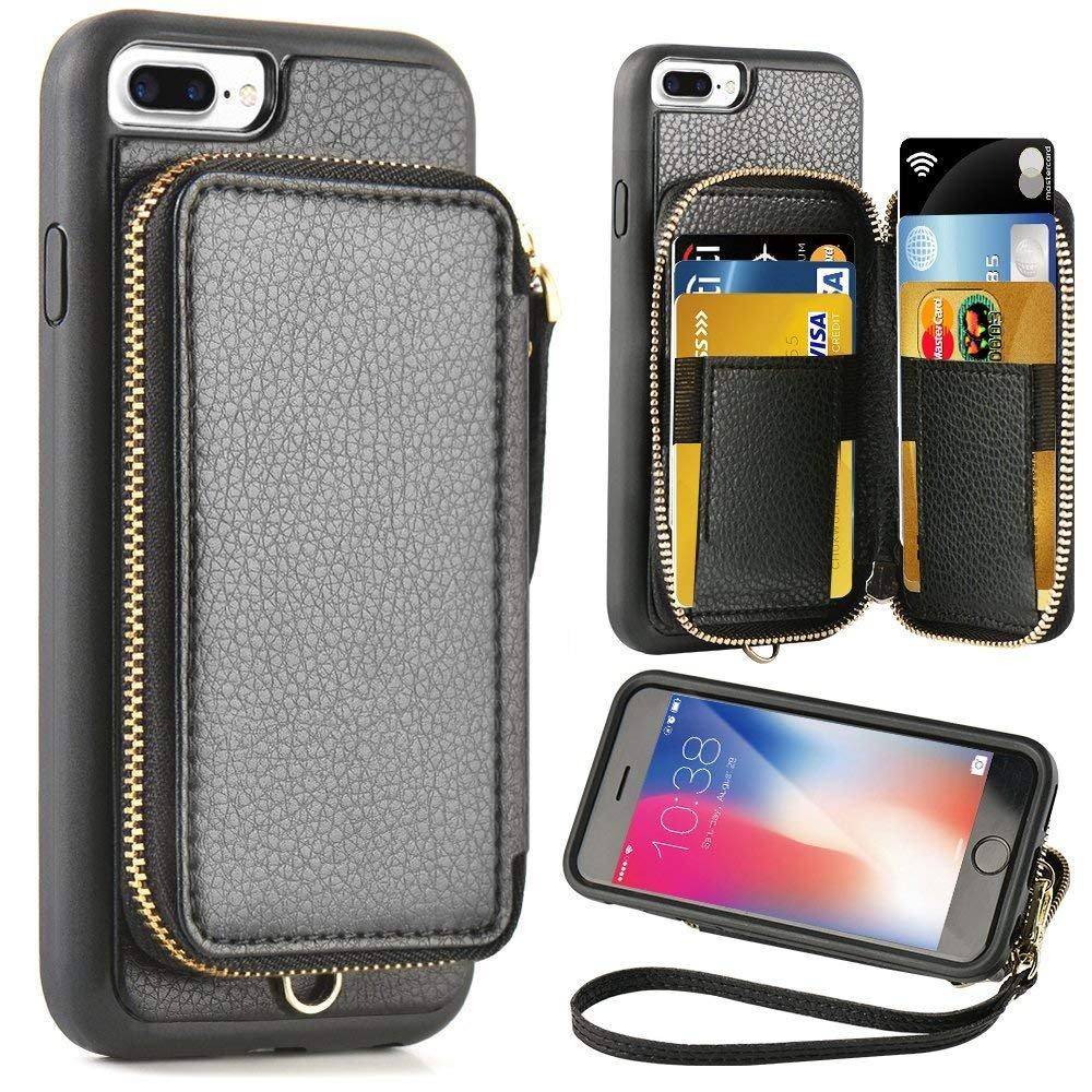 iPhone 8 Plus 7 Plus Wallet case,5.5 inch,ZVE Apple iPhone 7 Plus 8 Plus Case with Credit Card Holder Slot Zipper Wallet Pocket Purse,Protective Case Cover for Apple iPhone 8 Plus/7 Plus - Black