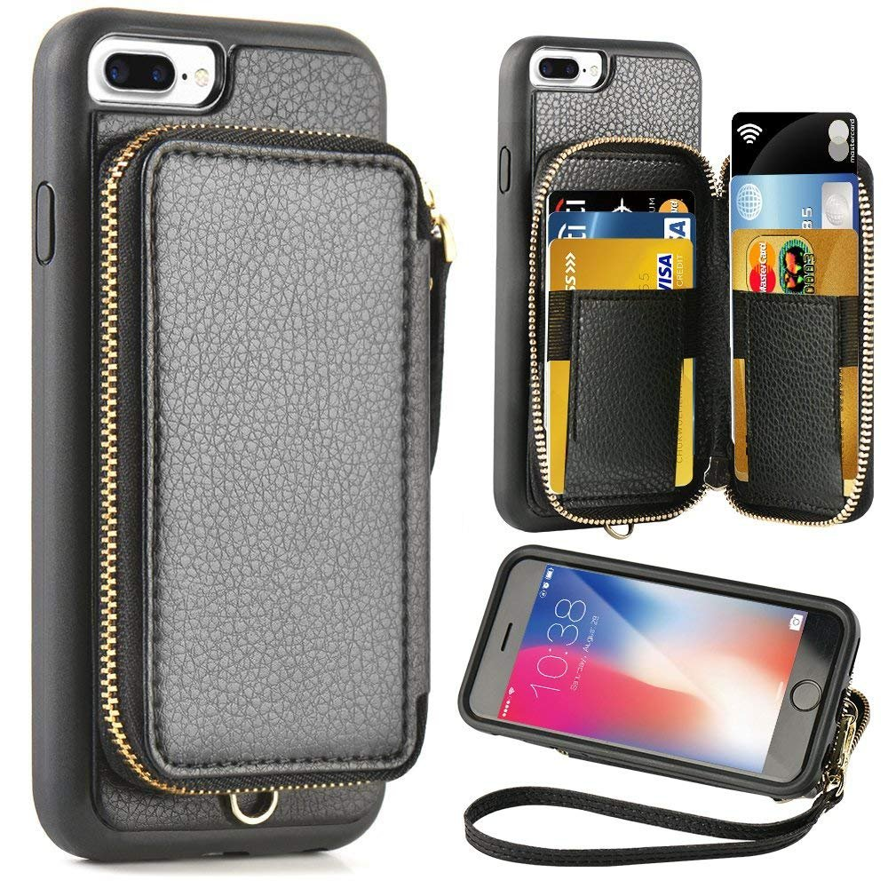 iPhone 8 Plus Wallet Case, iPhone 7 Plus Leather Case, ZVE iPhone 7 Plus Case with Credit Card Holder Slot and Zipper Wallet Money Pocket, Protective Case for Apple 7 Plus /8 Plus 5.5 inch - Black