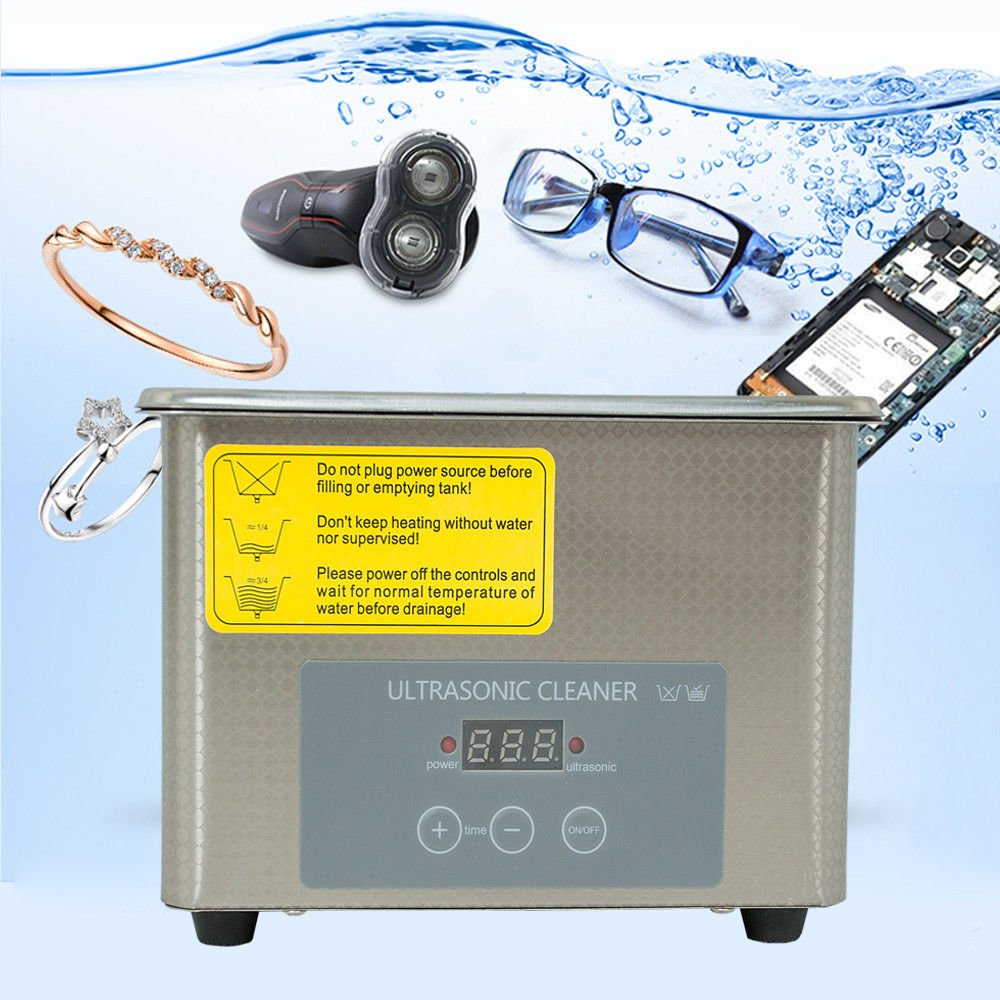 Digital Ultrasonic Jewelry Cleaner - ONEPACK 800mL Digital Control Cleaner for Jewelry, Watches, Gold, Platinum, Diamonds, Eyeglasses, Sunglasses, Dentures, Coins, Metal Parts, and Gears