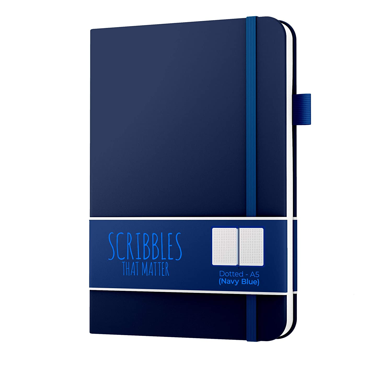 Scribbles That Matter (Softcover) Dotted Journal Notebook Diary A5 | Elastic Band | Beautiful Designer Cover | Premium Thick Paper (Navy Blue)