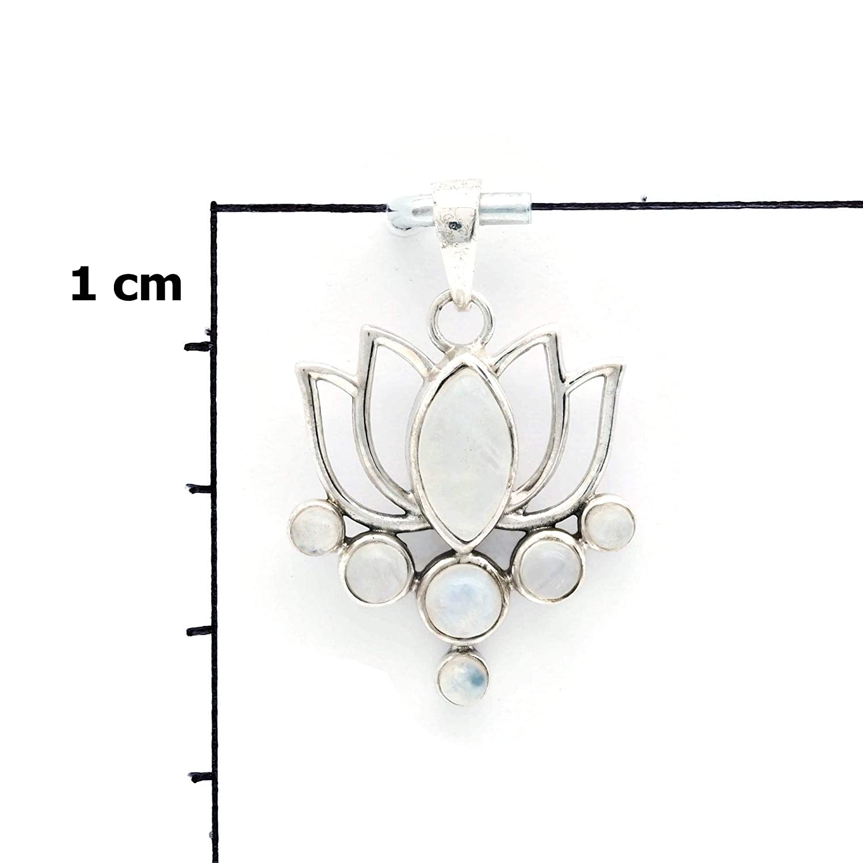 MAH 138 Kettenanh/änger Medaillon Silber 925 Sterlingsilber Regenbogen Mondstein wei/ß Stein 25 mm37 mm
