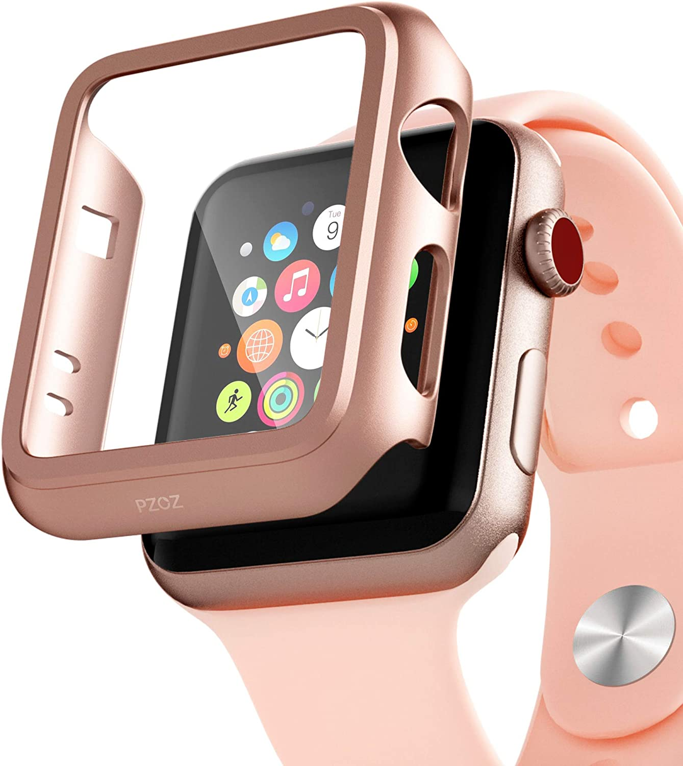 PZOZ Compatible for Apple Watch Series 3 / Series 2 Case with Screen Protector 38mm Accessories Slim Guard Thin Bumper Full Coverage Matte Hard Cover Defense Edge for iWatch Women Men GPS (Rose Gold)