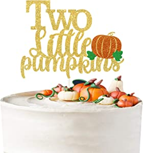 Two Little Pumpkins Cake Topper,Twins Birthday Cake Decor,Fall Twins Baby Shower,Baby Boys/Girls Little pumpkin Party Decorations