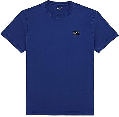 EA7 algodón 4 camiseta de manga corta - Azul - Large: Amazon.es: Ropa y accesorios