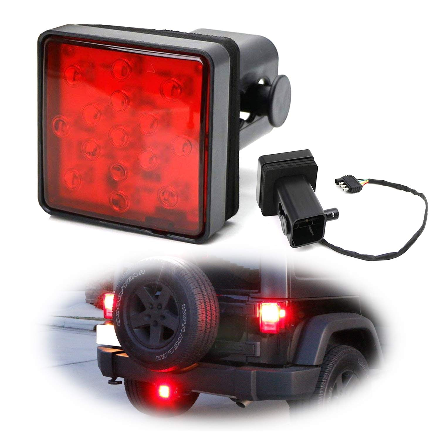 Ijdmtoy Red Lens Led Tail Brake Light For Truck Suv Troubleshooting 4 And 5way Wiring Installations Etrailercom Trailer Class 3 5 2 Inch Towing Hitch Receiver Powered By 15 Super Bright Bulbs