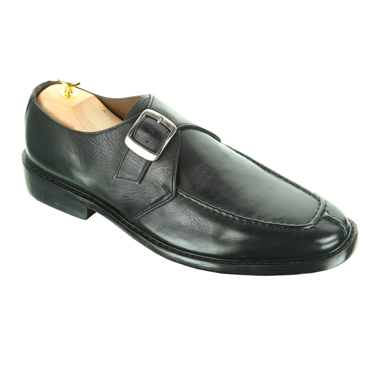 Handmade Damen Frost Alonti Mens Leather Dress Shoes with Single-buckle Strap, Color Black, Size US12