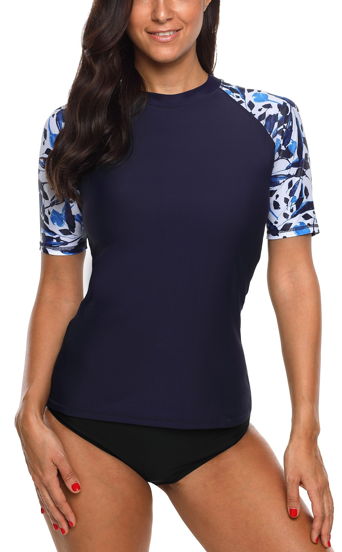 beautyin Short Sleeve Rashguard Swimsuit for Womens Sun Protection Rash Guard XL by beautyin