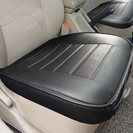 Big Ant 2 piezas auto asiento cojín para asientos delanteros de coche con protector de bordes, piel sintética, color negro