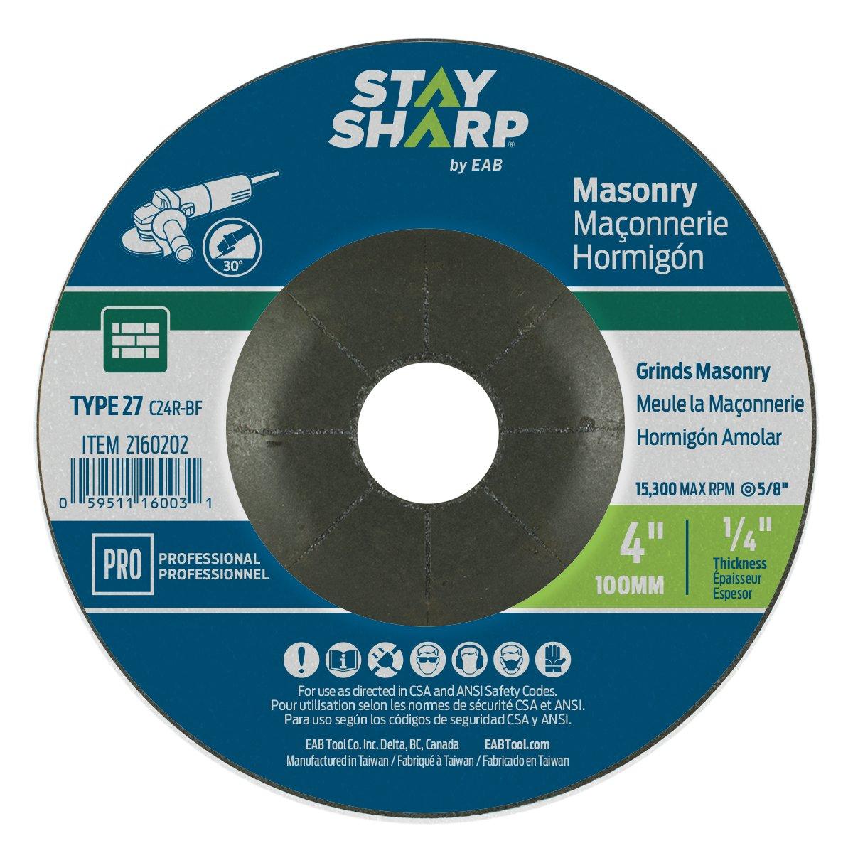 EAB Tool 2160202 4 x 1/4' Standard Masonry Depressed Center Wheel EAB Tool Company USA Inc