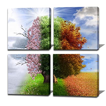 Amazon.com: Noah Art-Tree Art Prints 4 Seasons Tree of Life Modern ...