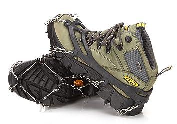 Tacos para hielo spikes crampones, picos de acero inoxidable y silicona resistente caminar botas de equipo de tracción, tracción crampones calzado de ...