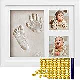 婴儿手印套件和足迹套件(自由日期和名字印章)新生儿粘土图片框 - 手印照片纪念品 - 适合女孩和男孩的*佳沐浴礼套装 - 独特的白色足迹印花无模具