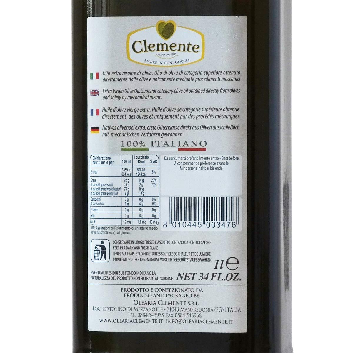 Aceite Clemente - 1 Botella de Aceite de Oliva Virgen Extra, 100% Italiano, Tradizione di Famiglia, 1 litro: Amazon.es: Alimentación y bebidas