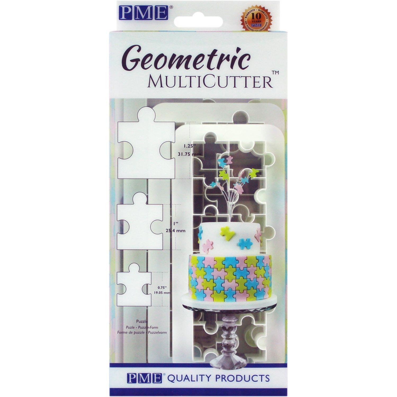 PME GMC154 Geometric Multicutter-Puzzle, Set of 3 Cake Design, White