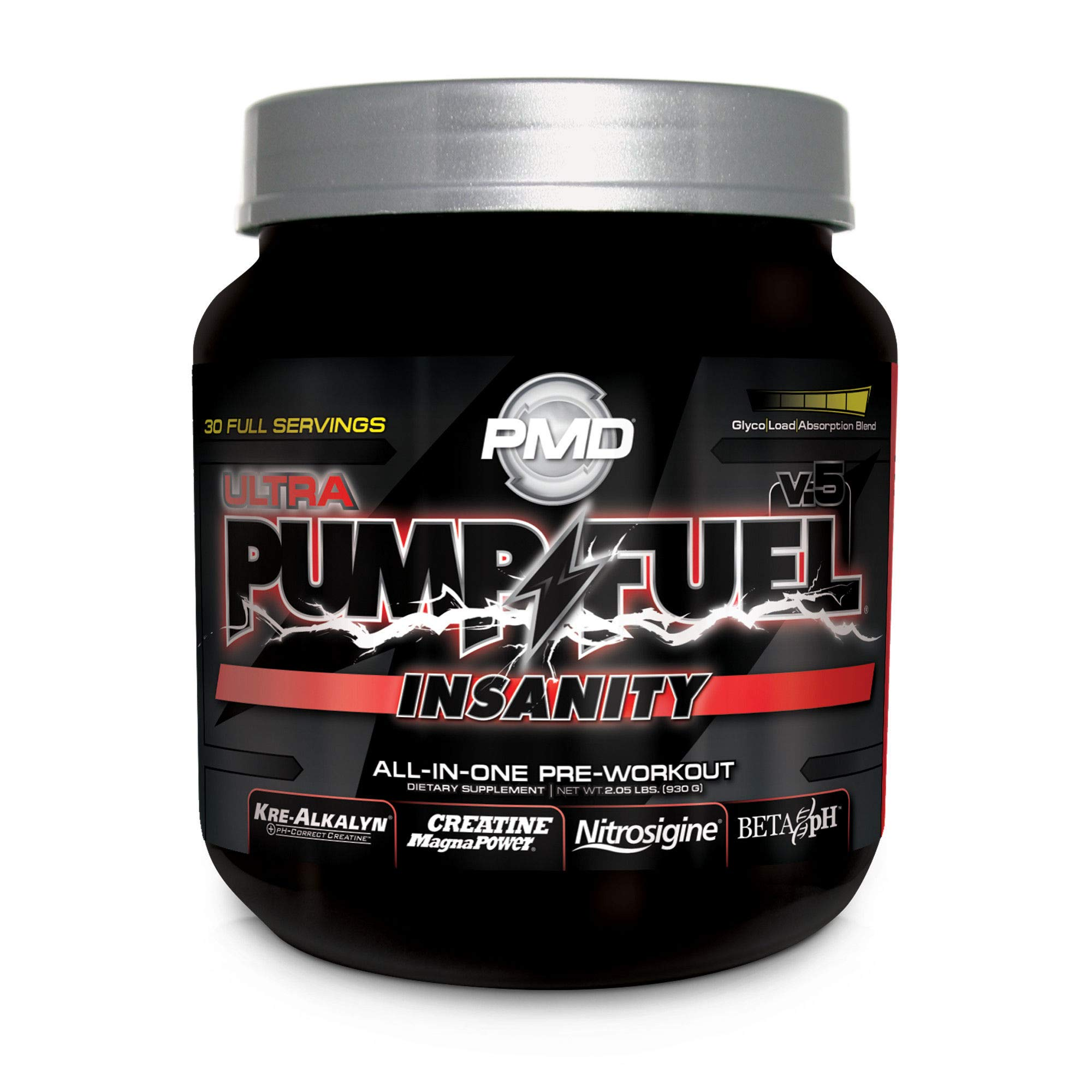 PMD Sports Ultra Pump Fuel Insanity - Pre Workout Drink for Energy, Strength, Endurance, Muscle Pumps and Recovery - Complex Carbohydrates and Amino Energy - Strawberry Slam - 30 Servings
