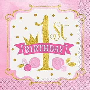 Pink and Gold Girls 1st Birthday Beverage Napkins, 16ct