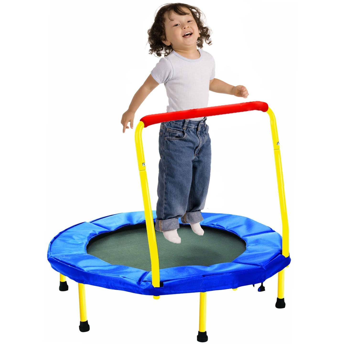 MakBB 36'' Kids Trampoline w/ Handle, Foldable Indoor Safety Padded Trampoline For Kids