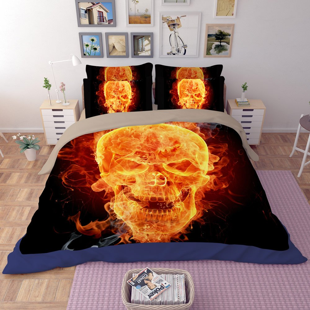 RuiHome 3D Angry Skull Printed 4pcs Duvet Cover Sets Teens College Students Dorm Room Bedding, Queen Size