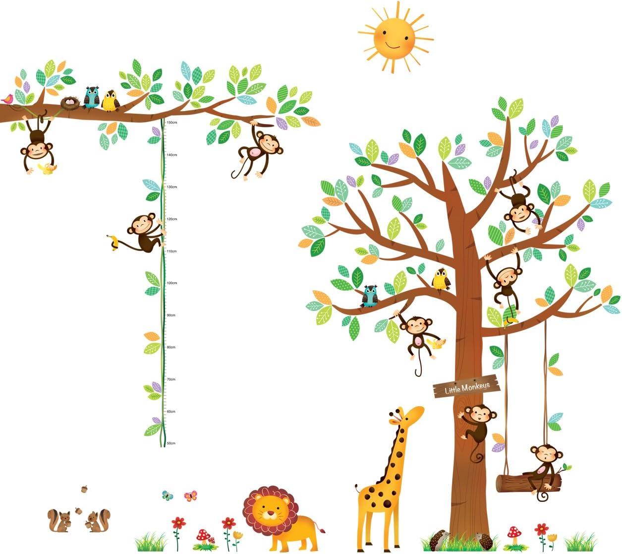 DA-1401P1402 DECOWALL Árbol de 8 Monitos y Gráfica de Altura Vinilo Pegatinas Decorativas Adhesiva Pared Dormitorio Salón Guardería Habitación Infantiles Niños Bebés