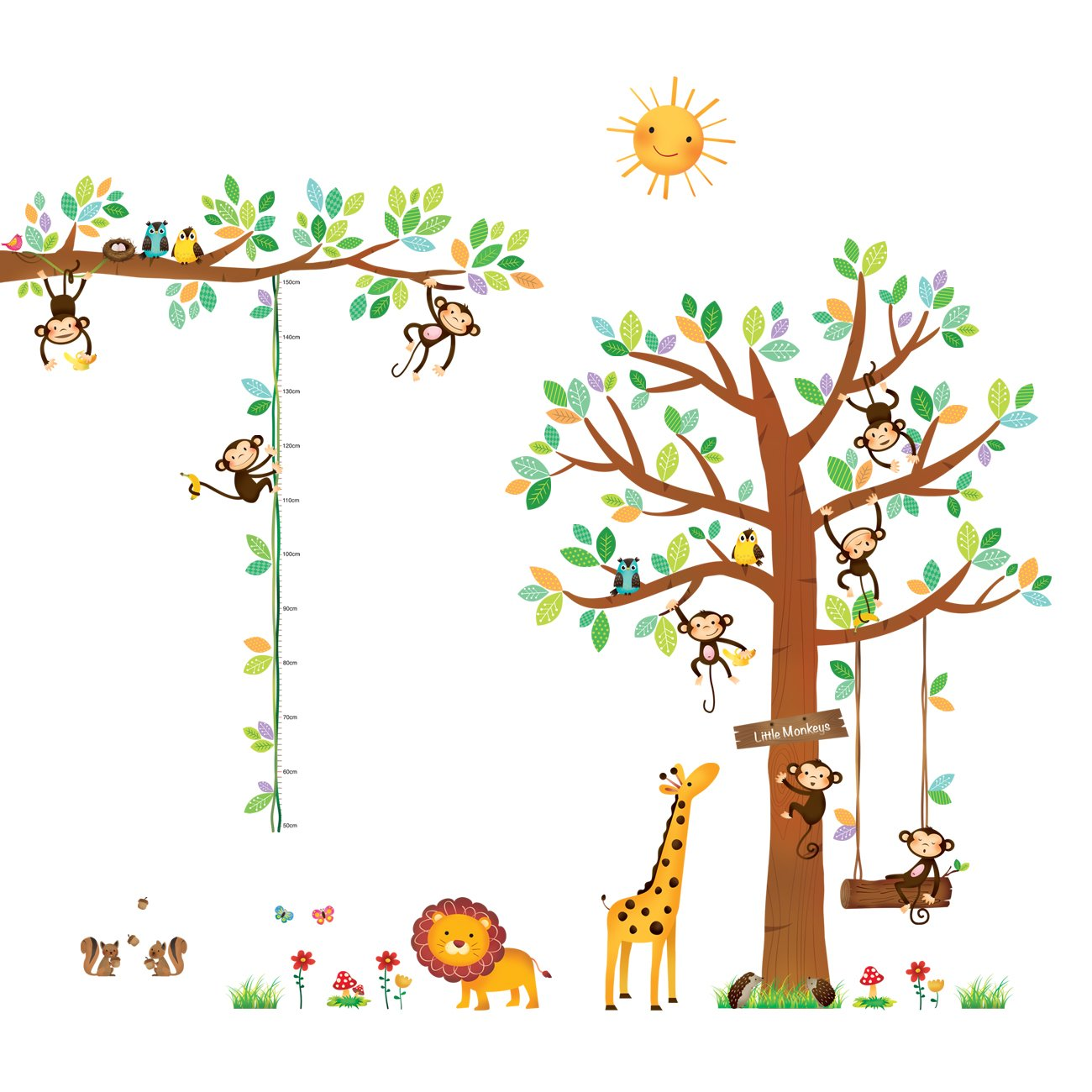 DECOWALL DA-1401P1402 8 Little Monkeys Tree and Height Chart Kids Wall Decals Wall Stickers Peel and Stick Removable Wall Stickers for Kids Nursery Bedroom Living Room by Decowall