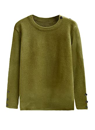 futurino Women s Crew Neck Solid Long Drop Sleeves Loose Knit Pullover  Sweaters Green f47d4ea81