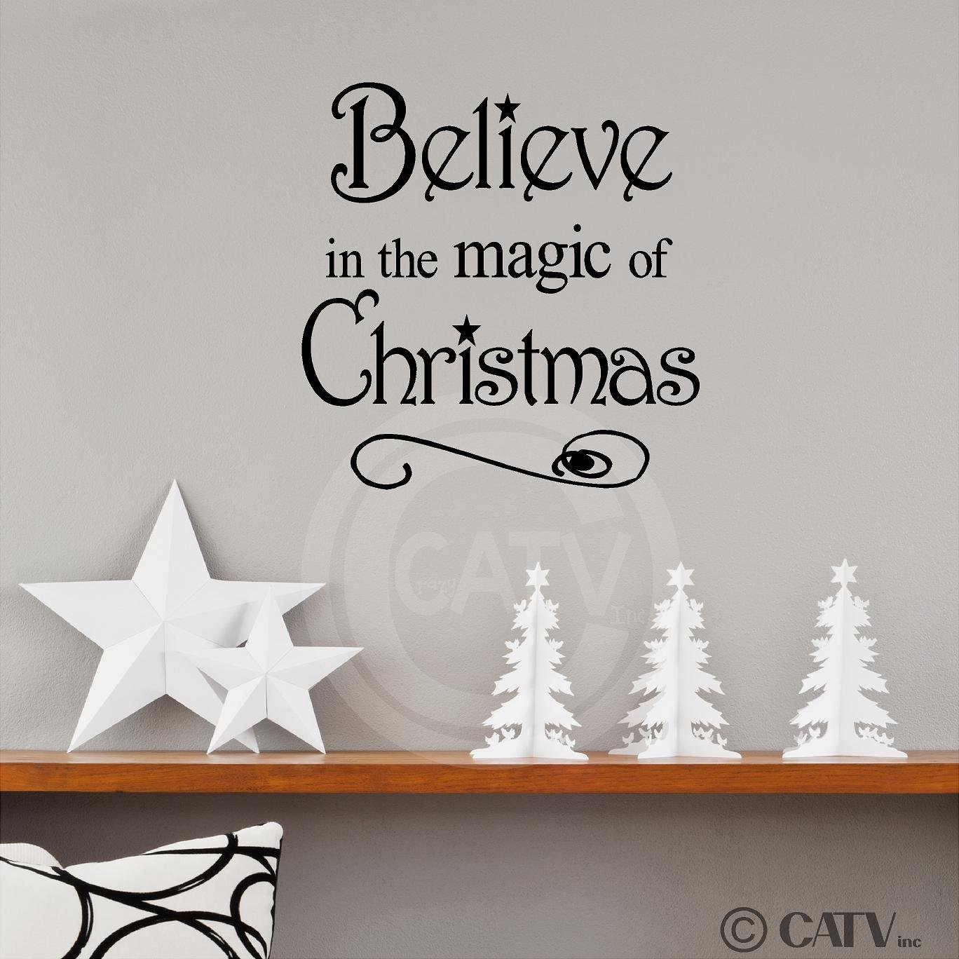 Amazon.com: Believe In The Magic Of Christmas 12x12 Vinyl Wall Art Decals  Sayings Words Lettering Quotes Home Decor: Home U0026 Kitchen