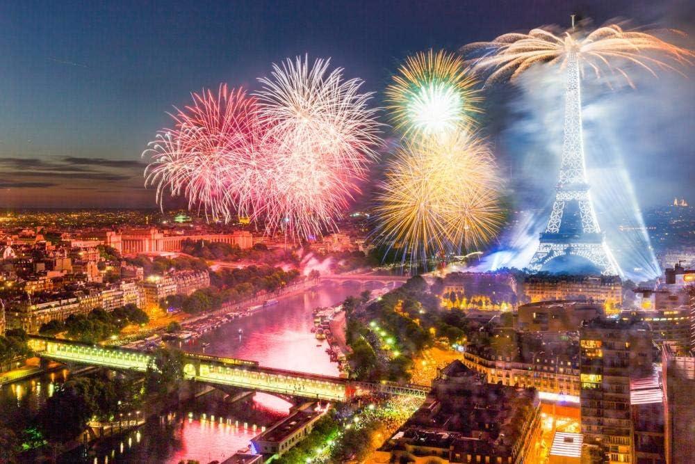 Slbtr 1000 Piezas Rompecabezas ,Fuegos Artificiales sobre La Ciudad,Juegos Educativos para Niños Y Adultos, Regalos para Cumpleaños, Fiestas Y Navidad