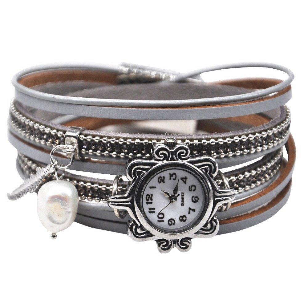 ヴィンテージカジュアルレディースレザー腕時計Feather Wrapカフバングルパール磁気クラスプ付き グレー2 B077YCHDSR グレー2 グレー2