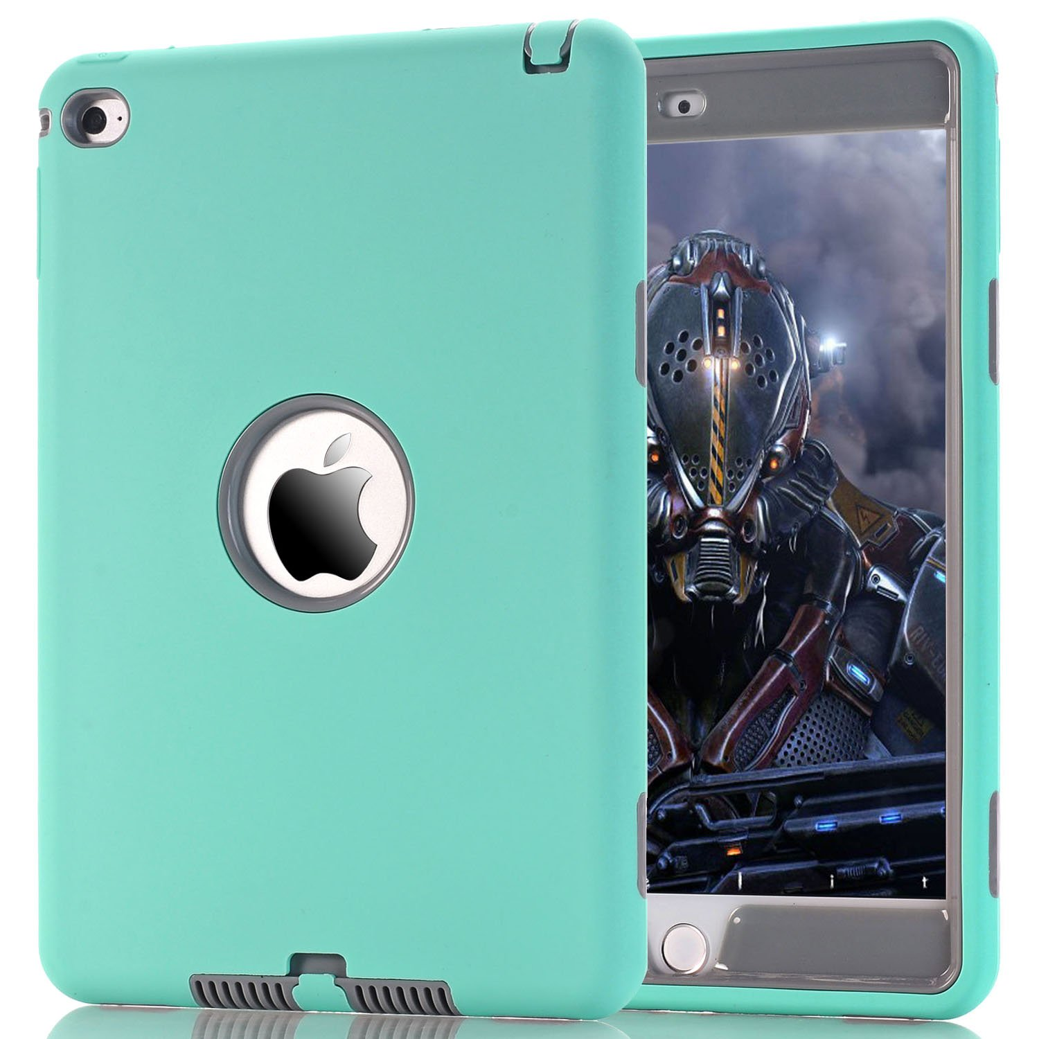 iPad Mini 4 Case, SURBUID with Cell Phone Stand Heavy Duty Protection Shock Absorbing High Impact Silicone Rubber Bumper+Hard Plastic Shell Hybrid Dual Layer Armor Protective Case (Mint)