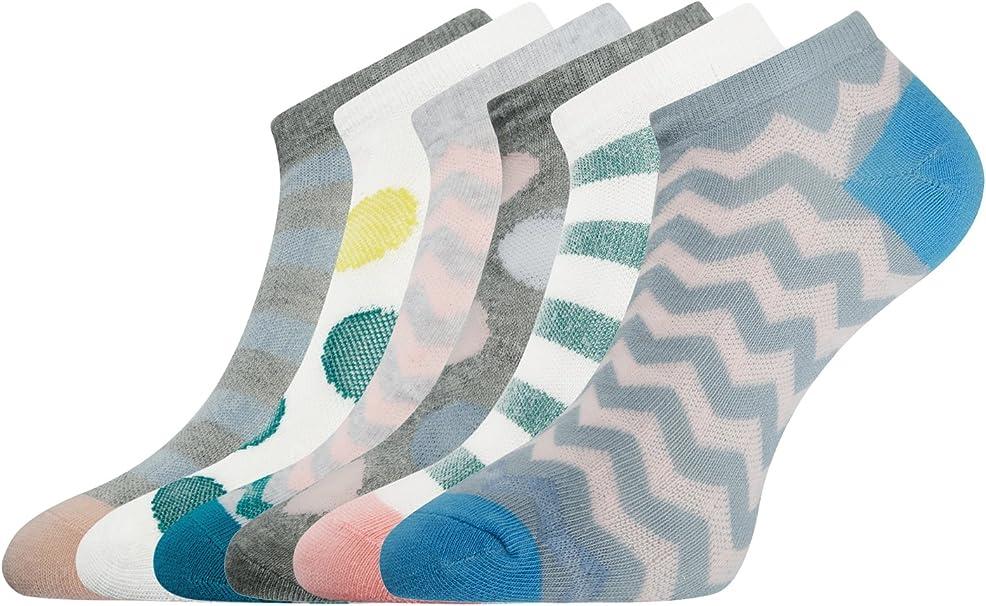 oodji Ultra Mujer Calcetines Tobilleros (Pack de 6), Multicolor ...