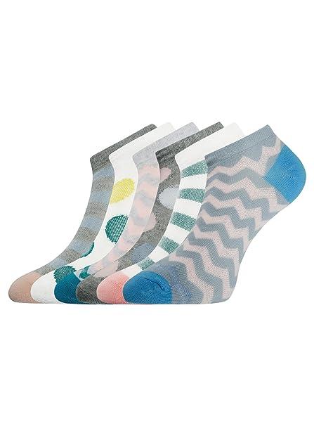 oodji Ultra Mujer Calcetines Tobilleros (Pack de 6), Multicolor, ES 35-