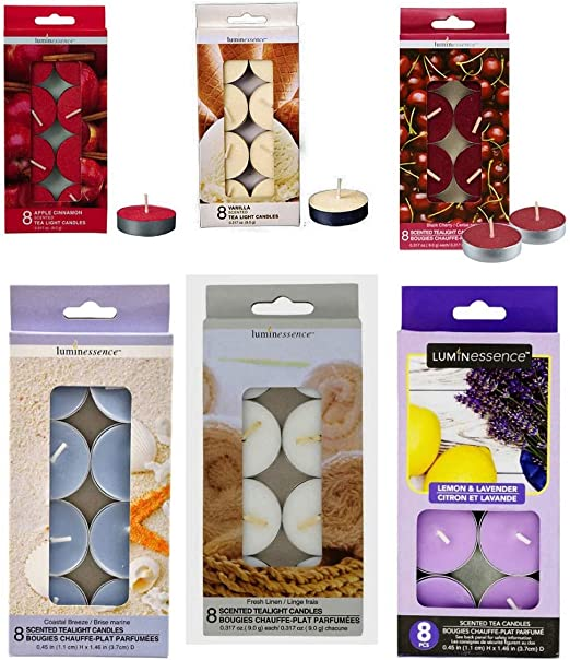 6 Aromatic Scented Tealights Various Scents