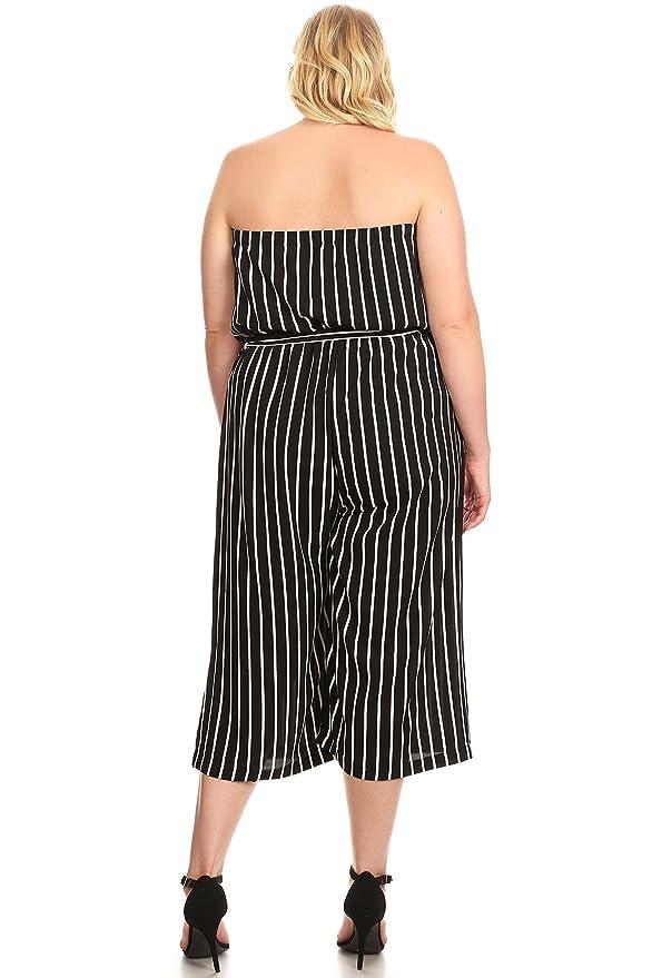 fc1912d4ea5a Amazon.com  Ambiance Apparel Women s Plus Size Striped Nautical Cold  Shoulder Jumpsuit  Clothing