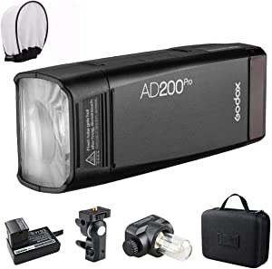 Godox AD200Pro AD200 Pro with PERGEAR Diffuser, 200Ws 2.4G Flash Strobe, 1/8000 HSS, 500 Full Power Flashes, 0.01-2.1s Recycling, 2900mAh Battery, Bare Bulb/Speedlite Fresnel Flash Head, Lightweight