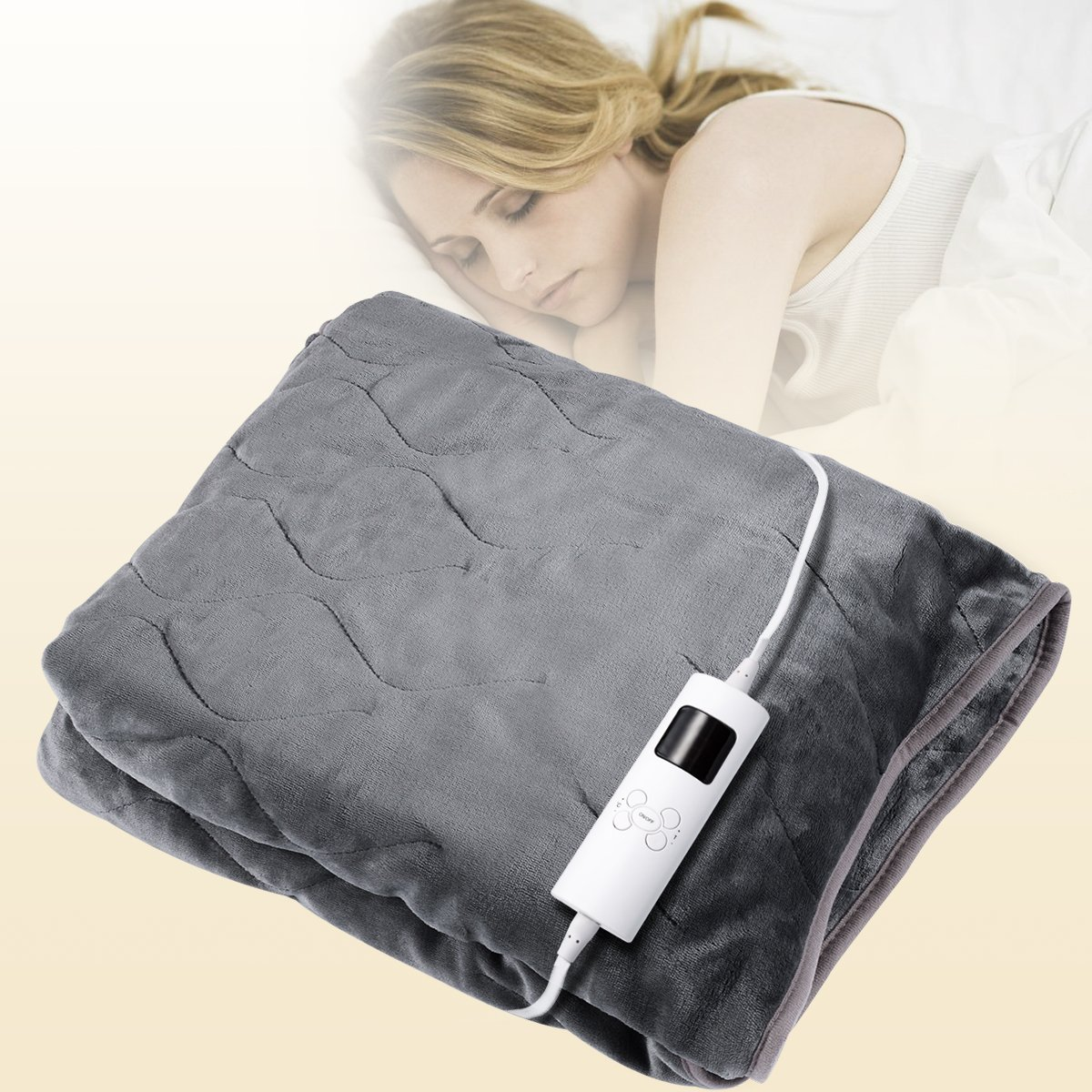 Costway Electric Blanket, Heated Over Blanket 130x160cm, Washable Soft Fleece Throw Blanket W/Monitor Warm Mattress