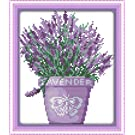 YEESAM ART New Counted Cross Stitch Kits Advanced - Lavender Plants - Embroidery Set Needlework DIY Handmade Christmas Gifts (White Canvas)